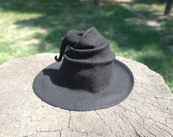 Black witch hat black wizard hat halloween hat magic hat gandalf hat harry  potter hat witches hat black felt hat felted hat wool felt hat 39b3995f259