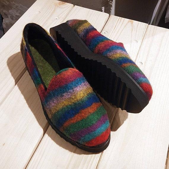 Wo  feutre coloré slipper chaussures chaussures chaussures slip arc en ciel glisseHommes t ons femmes chaussures chaussures d'extérieur feutre laine chaussons feutrés wo  vegan chaussures ce1004