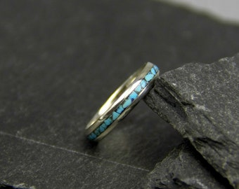 Turquoise ring, silver inlay ring, stacking ring