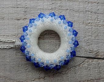 Large beaded pendant, round pendant, doughnut pendant, statement necklace, beaded jewellery, Swarovski crystal pendant, circle pendant