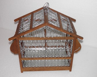 Amasing handcrafted red wood bird cage