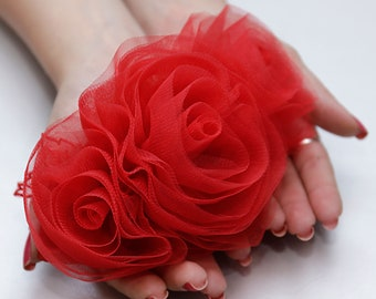 Red brooch Three big red roses Queen hearts Heart queen Appliques Headbands Hair clips Valentines gift Chiffon flower garments