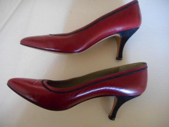 87ac5c05dde Calvin Klein Red Leather Black Trim Classic Pumps Size 8 N