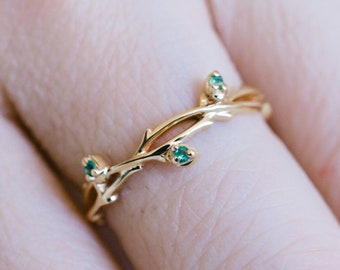 Solid 14K gold emerald twig ring 18K rose gold emerald engagement ring emerald twig wedding ring