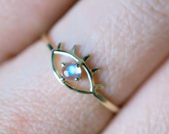 Solid 14K Gold Moonstone Eye Ring 18K Rose Gold birthstone ring white gold evil eye ring rainbow moonstone Promise Ring anniversary gift