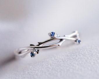 14K 18K gold blue sapphire twig ivy ring wedding branch band engagement ring promise ring rose white gold platinum flower bud buds leaf ring