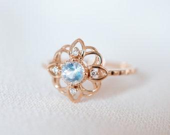 14K 18K Gold Moonstone Flower Ring Diamond Moonstone Engagement Ring Art Deco Rose Gold white gold Platinum wedding Anniversary Ring gift