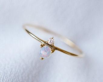 14K 18K Opal Diamond Ring Rose Gold White Gold Birthstone Opal Promise Ring Engagement Ring anniversary ring opal platinum anniversary gift