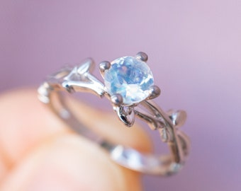 18K 14k Gold Moonstone Twig Ring white gold moonstone engagement ring platinum twig leaf ring flower buds ring rose gold moonstone ring