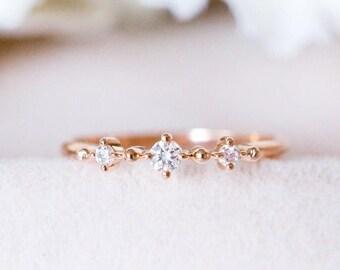 18k 14K gold trio diamonds engagement ring wedding ring band rose white gold platinum promise anniversary ring gift