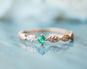 Emerald leaf engagement ring 18K 14K rose gold emerald leaf ring white gold emerald wedding ring platinum emerald leaf ring wedding band