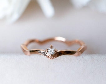 18K 14K gold diamond wave ring curve line engagement ring rose gold wedding ring platinum petite diamond ring promise ring anniversary gift