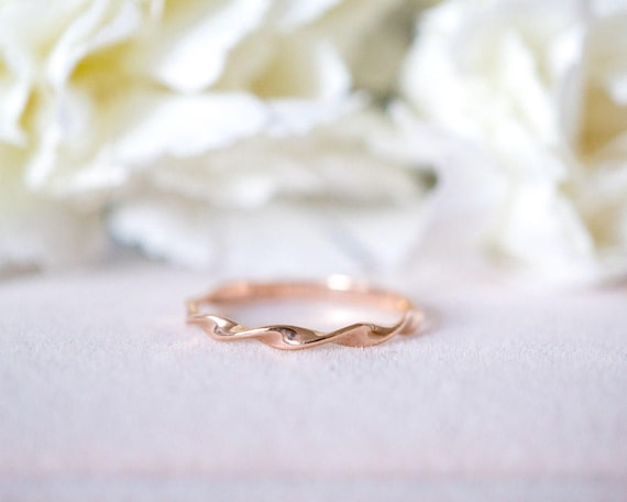 Mobius Ring 14 K 18k Rose Gold Wendung Band Mobius Stapelring Etsy