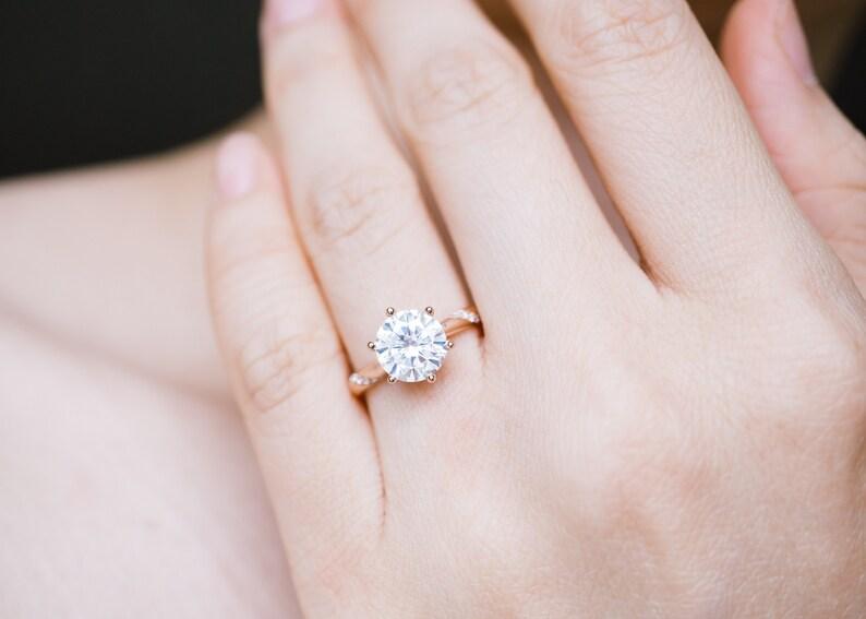 18K 14K Gold 1ct moissanite solitaire engagement ring 1 carat  7de41486ff