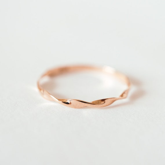 Rose Gold Mobius Ring Massiv 14k 18k Gold Twist Band Mobius Etsy