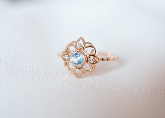 Vintage 18K Rose Gold White Sapphire Flower Buds /& Leafs Ring Women Jewelry Gift