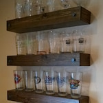 Custom Stained Wooden Floating Shelves - Pine and Birch