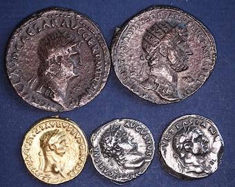 5 REPRODUCTION Roman coins, AS, Dupondius, Aureus, Denarius, Nice group [5MRC]