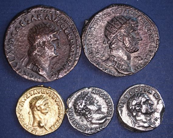 5 Wiedergabe Römische Münzen Als Dupondius Aureus Denar Etsy