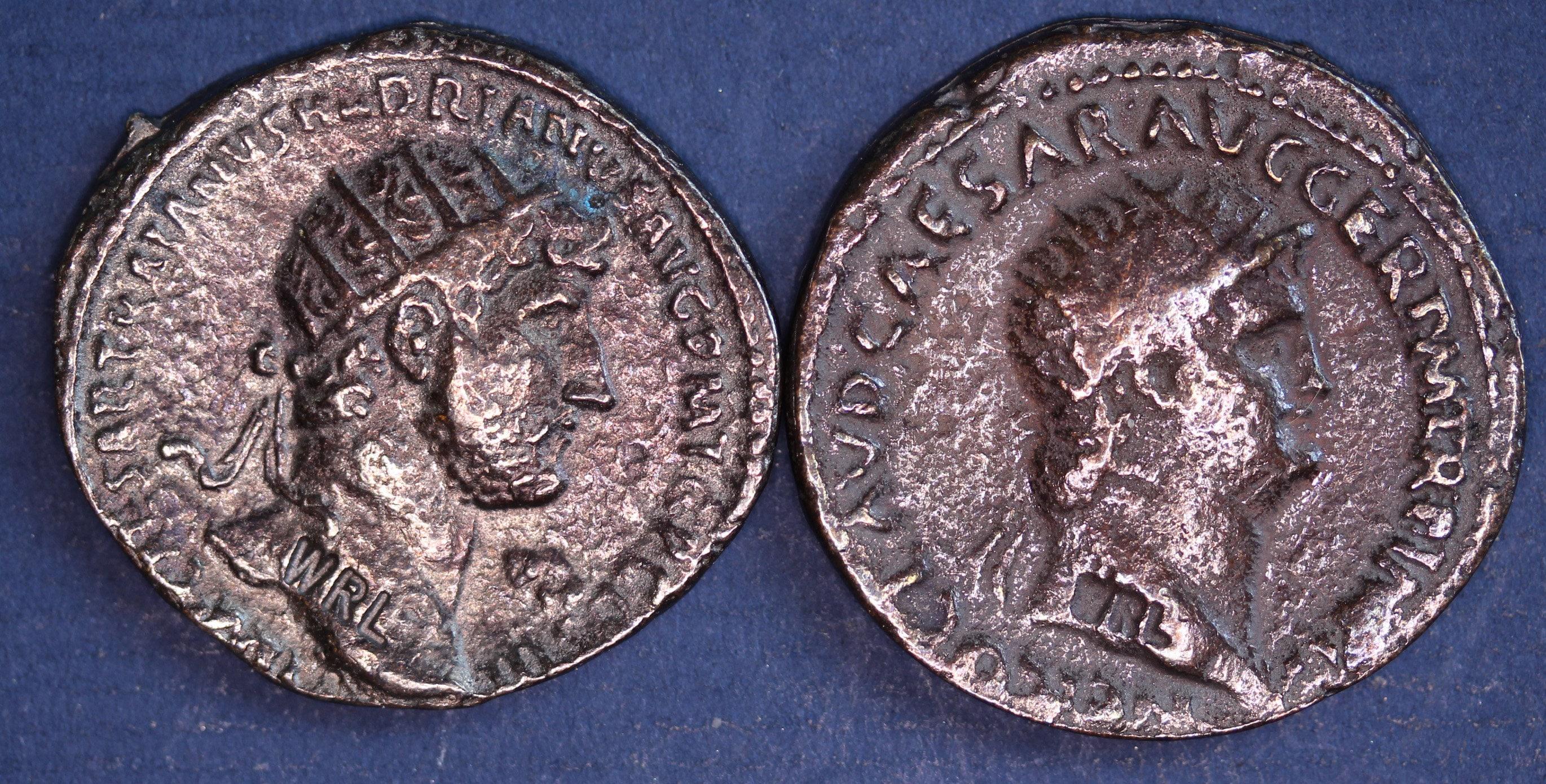 2 Reproduktion Römische Münzen Als Dupondius Nero Hadrian Etsy