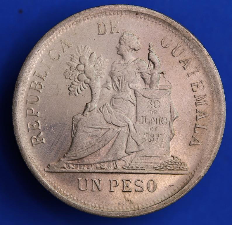 0720 19510 Replica coin REPRODUCTION 1894 Guatemala Una Peso coin