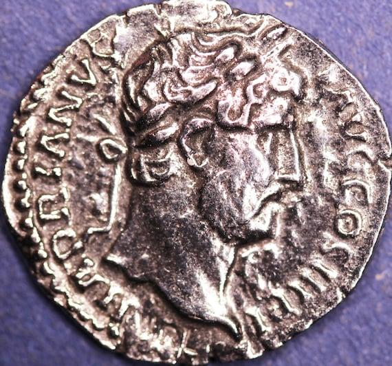 Hadrian Denarius in information pack REPRODUCTION Roman coin HDCP