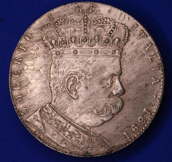 R0321 18672 Replica coin Umberto I Crown size REPRODUCTION 1891 Italy 1 Tallero  5 Lire