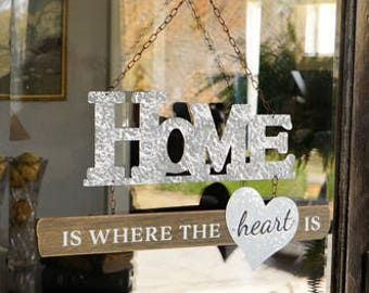 Home Is Where The Heart Is Sign, signs, Wall Decor, Door Hanger, door sign, industrial decor, family sign, home sign,  Wall Decor, Home sign