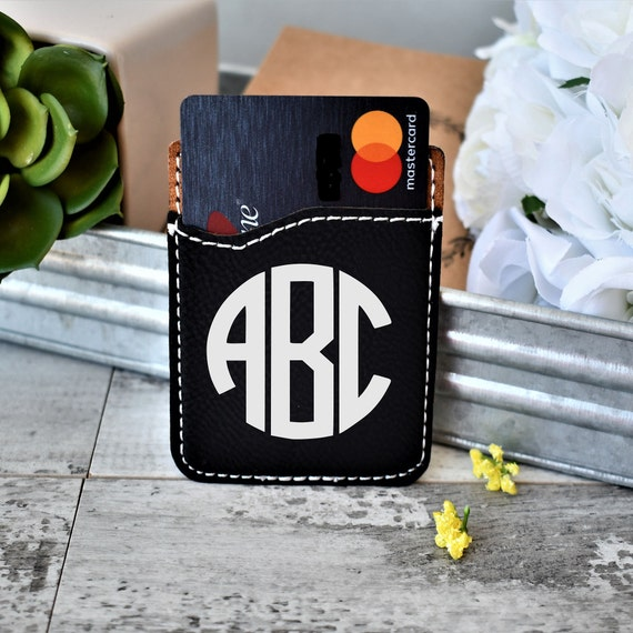 sneakers for cheap e48bd 587b4 custom leather monogram phone wallet, ID card holder, phone card holder,  cell wallet, gift, monogram accessories, business card carrier
