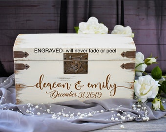 Personalized Wood Card Box I Wedding Card Box with Lock | Wedding Money Box | Wedding Card Box | Wedding Card Holder,Fathers Day