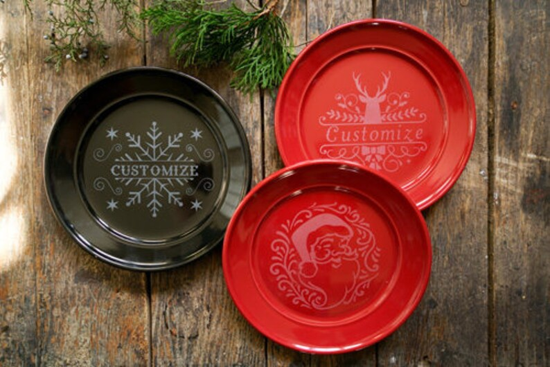 Christmas Decor ceramic holiday plates plates black Christmas decor Christmas Plates Holiday plates dinner plates