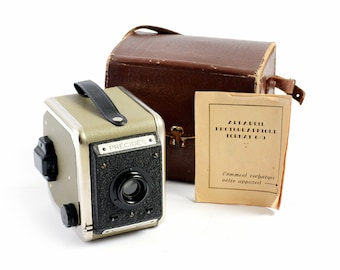 "Rare 1950s ""Précidès"" 6x9 Box Camera With Original Case & Manual - Working Condition - Featured in Graçay Photography Museum's Collection"