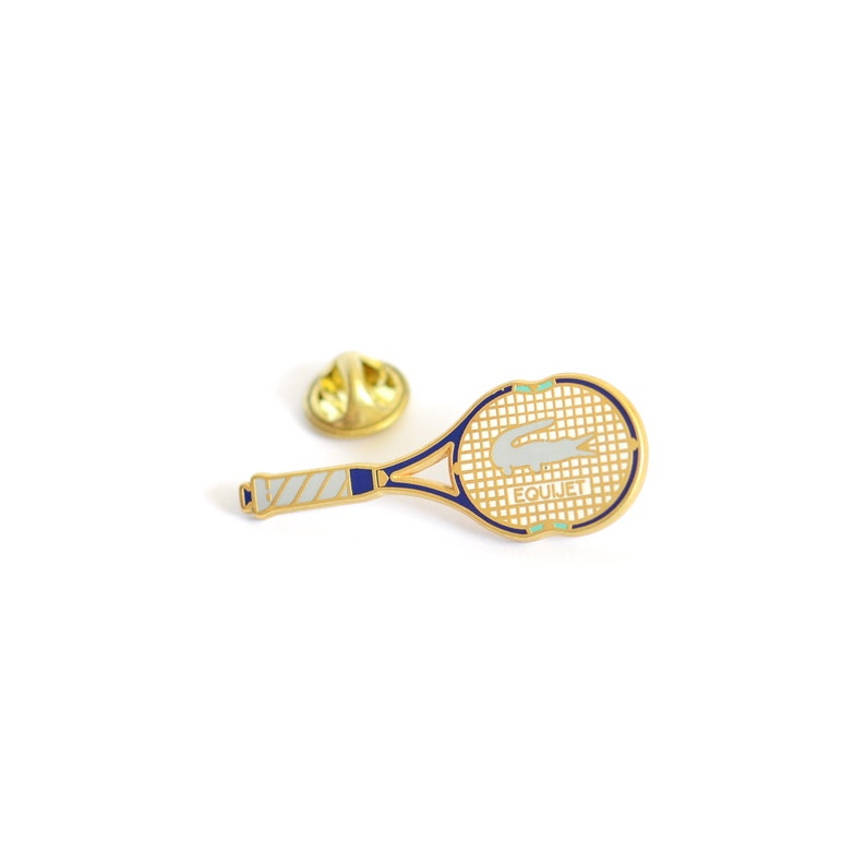 4df3edf1956a3 1980s Limited Edition Lacoste 'Equijet' Racket Pin Badge Designed by Arthus  Bertrand, Paris - Roland Garros - Gold Plated - Very Collectible