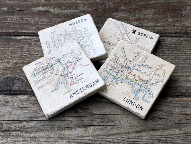 Subway Map Boxer Shorts.Original Mix And Match Metro Maps Coaster Set Subway Maps Transit Maps Stone Coasters Drink Coasters Map Art Map Gift Travel Souvenir
