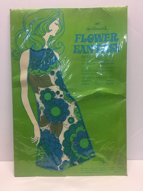 Vintage 1960s Hallmark Paper Party Dress, Flower F