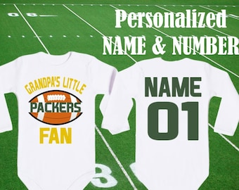 Packers Bodysuit Grandpa s little Packers Fan customized personalized NAME  NUMBER Green Bay Baby body Funny Child boy Clothing Shower NFL a65e46a1f