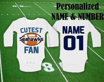 Seahawks Baby Cutest Seahawks Fan customized body personalized NAME NUMBER  One Piece Bodysuit Funny Baby Child boy Clothing Kid s Shower Top b2ac1a11b