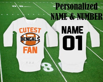67638b322 Bengals Baby bodysuit Cutest Bengals fan customized personalized NAME  NUMBER One Piece Bodysuit Funny Baby Child boy Clothing Kid s Shower
