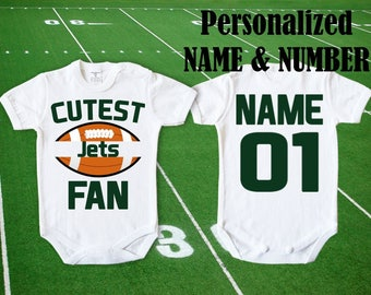 f81167117 New York Jets Baby Cutest Jets Fan customized personalized NAME NUMBER One  Piece Bodysuit Funny Baby Child boy Clothing Kid's Shower Toddler
