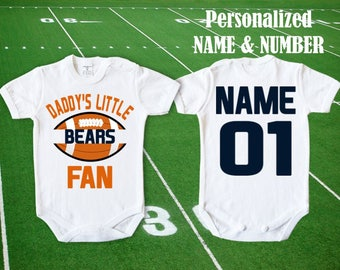 Bears Baby body Daddy s little Bears fan customized personalized NAME  NUMBER Chicago Bodysuit Funny Child boy Clothing Kid s Shower girl NFL 8cb2a0a26