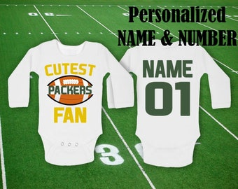 Packers Baby Cutest Packers Fan customized personalized NAME NUMBER  Bodysuit Funny Baby Child boy Clothing Kid s Shower Toddler body shower 8e393638b