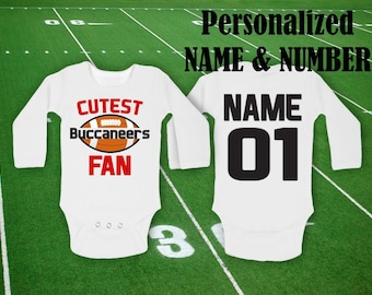 922b3edee Buccaneers Bodysuit Cutest Buccaneers Fan customized personalized NAME  NUMBER One Baby Funny Child boy Clothing Kid s Shower girl Toddler