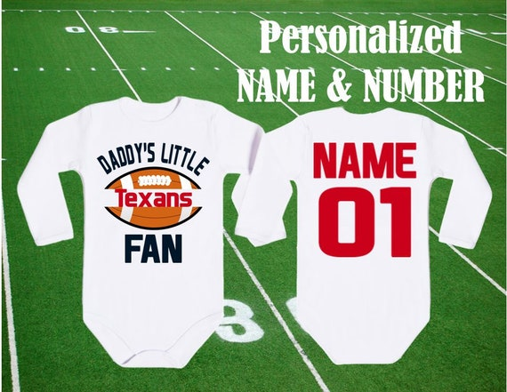 bodysuit Texans fan customized personalized NAME NUMBER houston baby