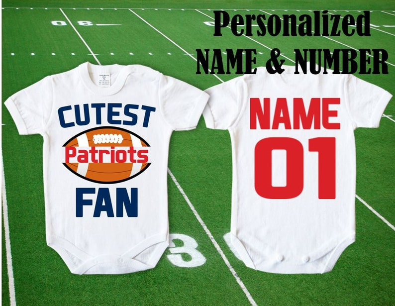 promo code 76697 81e43 New England Patriots Baby Cutest Patriots Fan customized personalized NAME  NUMBER One Piece Bodysuit boy Clothing Kid's Shower girl Top