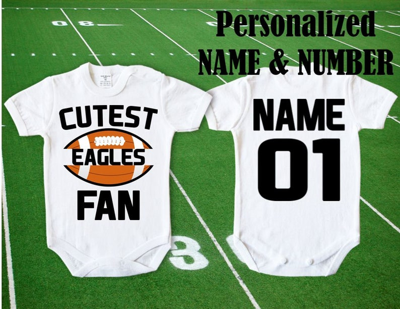 368e3186b48 Baby Cutest Eagles Fan body customized personalized NAME | Etsy