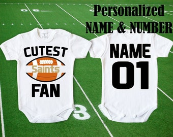Saints Baby Cutest Saints Fan customized personalized NAME NUMBER One Bodysuit Funny Child boy Clothing Kid's Shower girl body Toddler Top