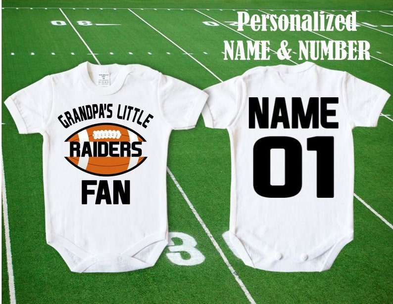 937ced8f Raiders Baby Grandpa's little Raiders Fan customized personalized NAME  NUMBER Oakland Bodysuit Funny Child boy Clothing Kid's Toddler Top