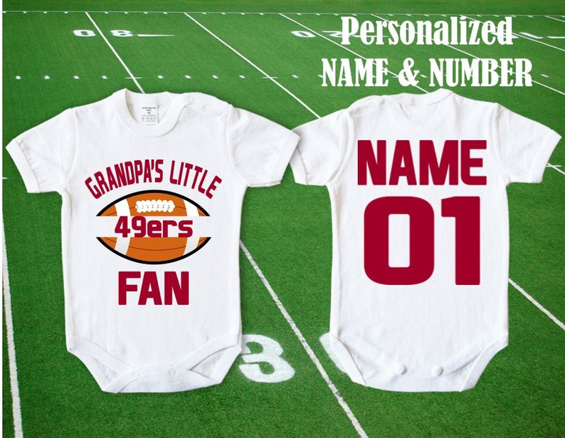 official photos fee03 4d728 49ers Baby Grandpa's little 49ers fan customized personalized NAME NUMBER  San Francisco Baby Funny Child boy Clothing Kid's Shower Toddler