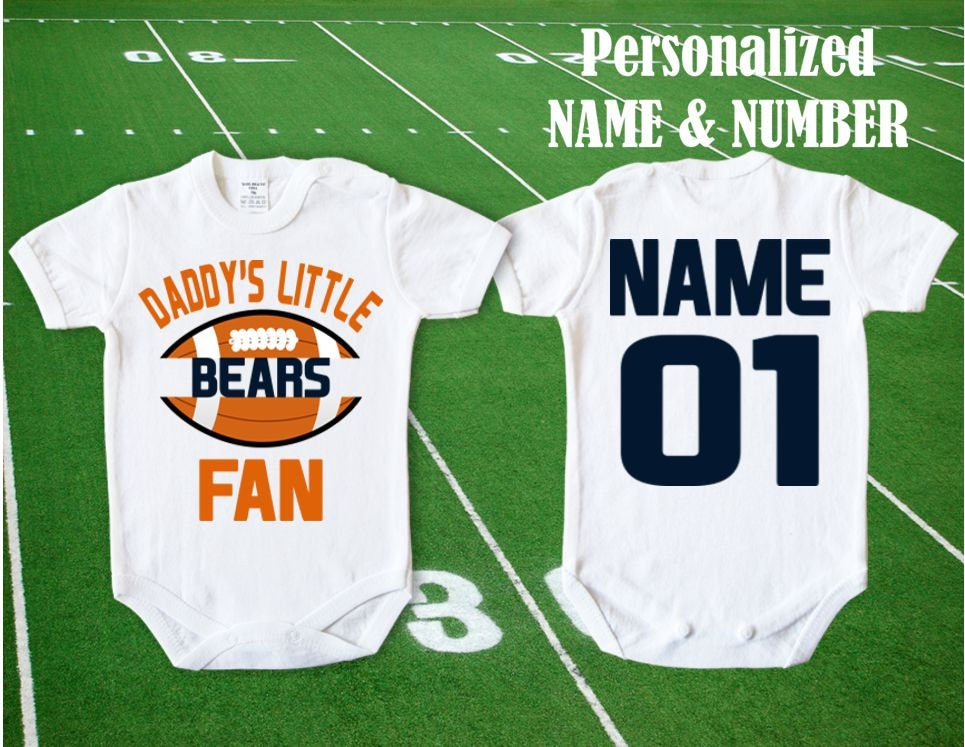 online store a2263 df664 Bears Baby body Daddy's little Bears fan customized personalized NAME  NUMBER Chicago Bodysuit Funny Child boy Clothing Kid's Shower girl NFL