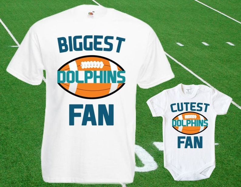 detailed look 76b29 bee21 Dolphins baby DOUBLE Dolphins Fan shirt t-shirt customized bodysuit Funny  Miami baby Child boy Clothing Kid's Top Football Shower Toddler